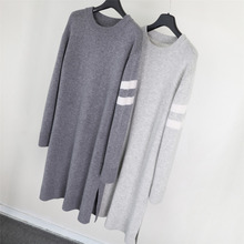Korea 16 autumn winter new style women wool cashmere knitted long female sweater classical casual straight dress gray color 032