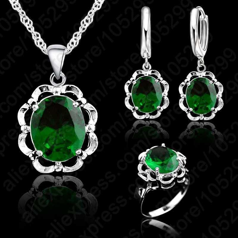 אופנה חדשה קריסטל לב וחצים סטי שרשרת & עגילי טבעת 925 כסף סטרלינג חתונה & מפלגה