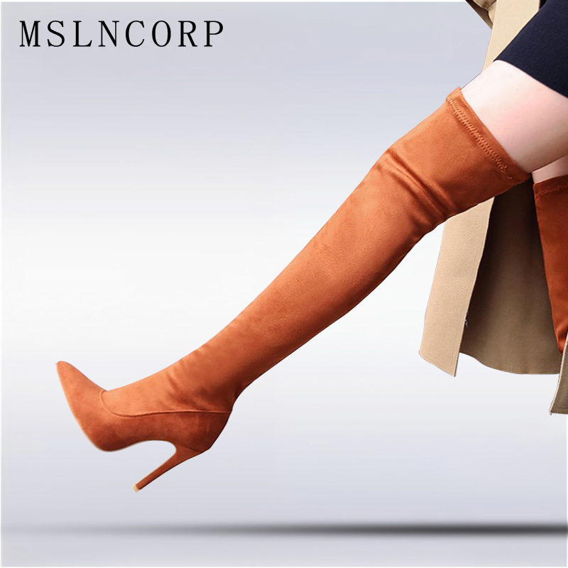 Plus Size 34-43 New Spring and Autumn high heeled women Sexy Stretch Over Over the knee boots sexy Thin Heels Pumps woman Shoes diamante azul