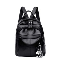 Mummy bag fashion PU leather baby diaper travel bag black large capacity backpack diaper bag ladies casual handbag