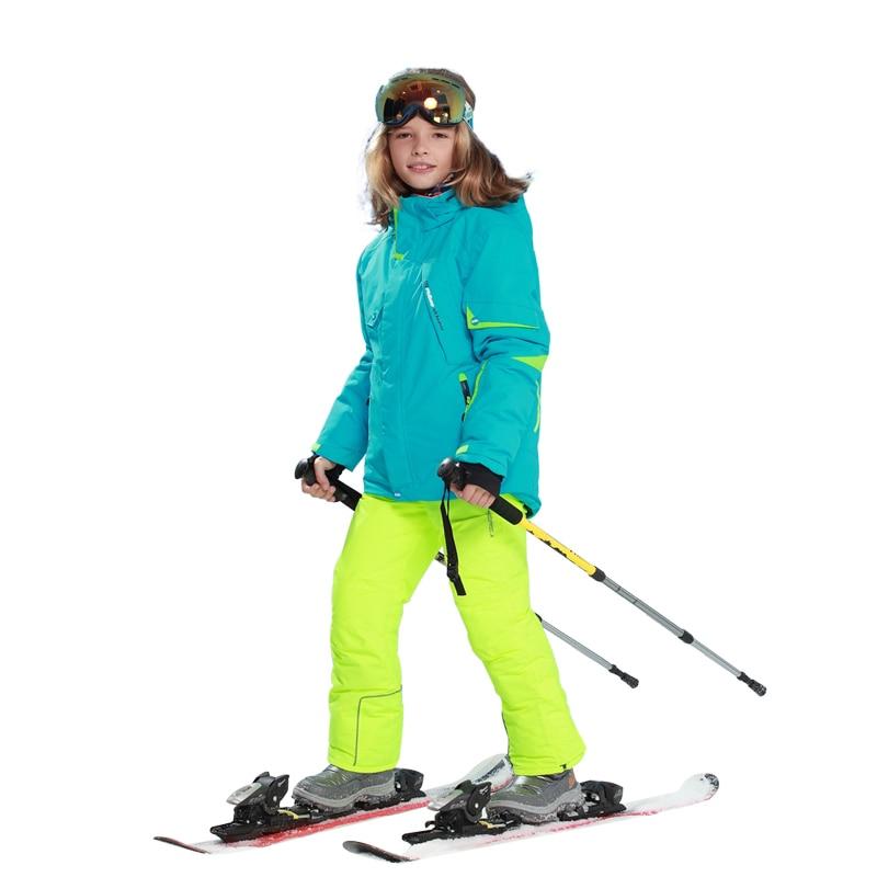 Dollplus 2018 Boys Girls Snow Ski Jacket + pants Sets Winter Sport Suit for Boys Children Outdoor Windproof Waterproof Clothes