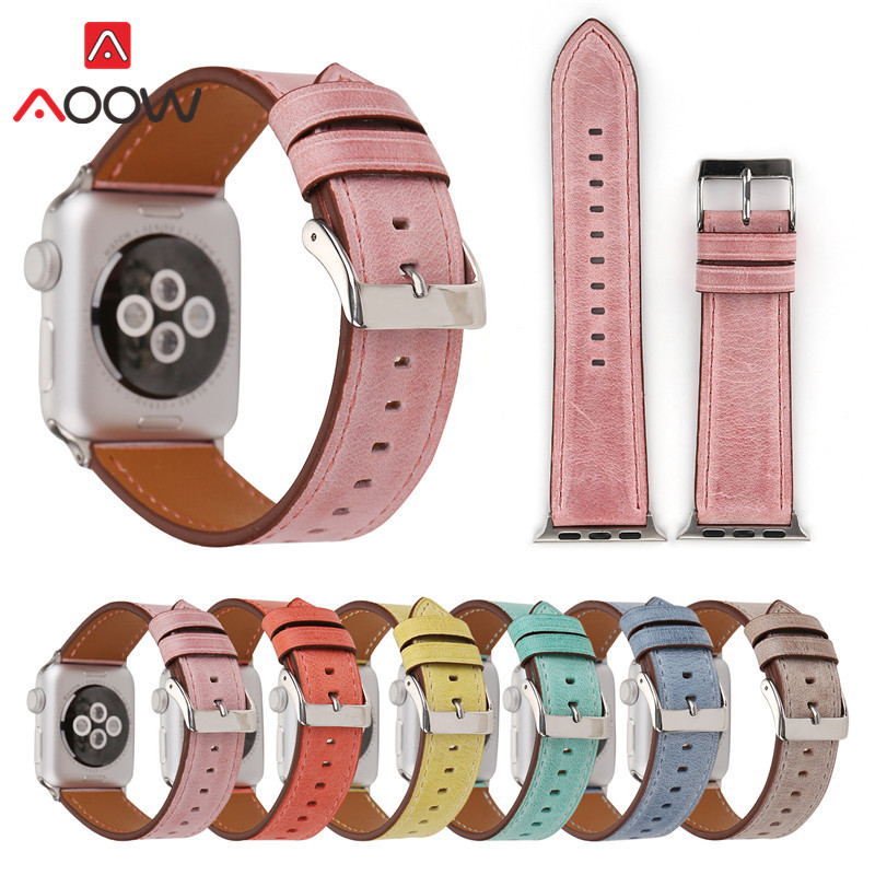 Green Genuine Leather Watchband For Apple Watch 38mm 42mm Blue Pink Women Men Replacement Bracelet Strap Band For Iwatch 1 2 3