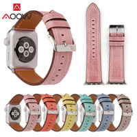 Green Genuine Leather Watchband For Apple Watch 38mm 42mm Blue Pink Women Men Replacement Bracelet Strap