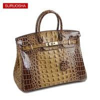 Классический Брендовая Дизайнерская обувь Для женщин сумка из кожи аллигатора Сумка платинового цвета большой Ёмкость коровьей кожи модны
