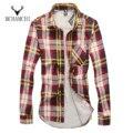MCHAMCHI 2017 New Brand Cotton Dress Shirt Long Sleeved Slim Fit Shirts Men Plus Velvet Warm Winter Casual Tops Camisa Masculina