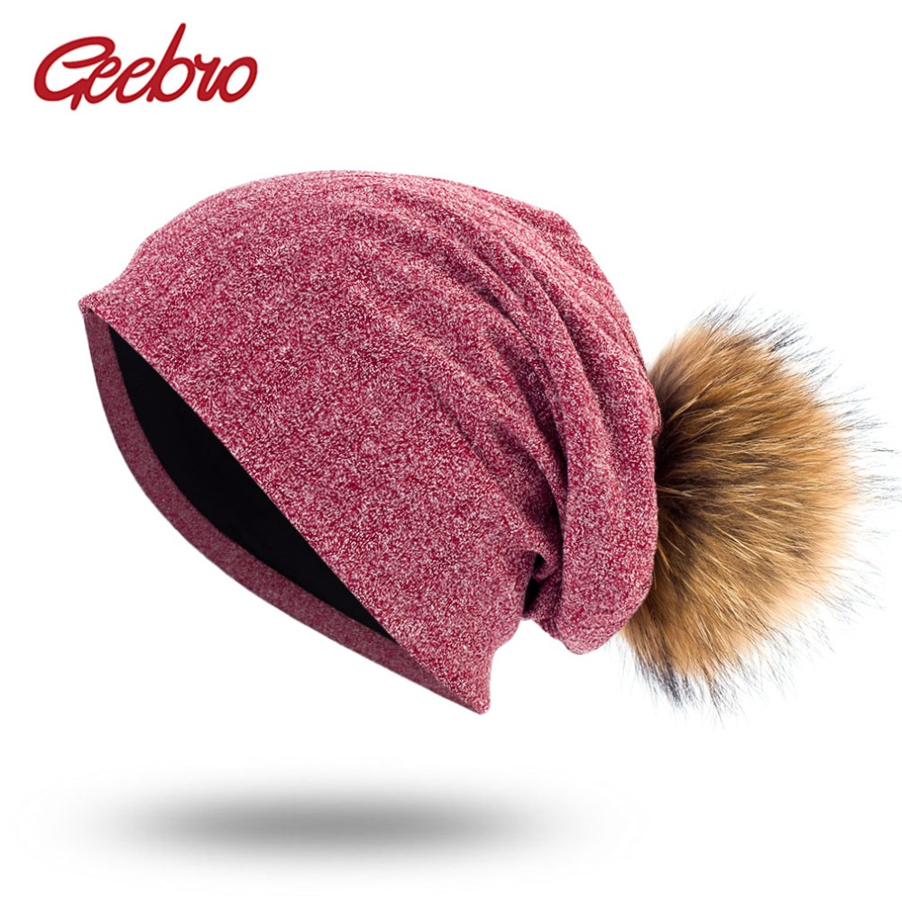 Geebro Spring Women's Bonnet   Beanies   with Raccoon Fur Pompom Autumn Cotton Solid Stripe Hats For Ladies   Skullies     Beanie   Cap