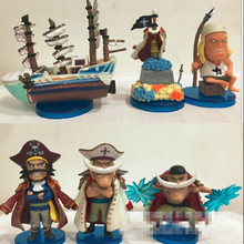 One Piece WCF HISTORY OF SHIROHIGE Whitebeard PVC Action Figure Collectible Model Toy 8cm 6pcs/set