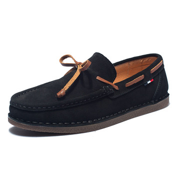 Homens de couro genuíno AGSan sapatos casuais sapatos de barco borla mocassins clássicos deslizar em mocassins cinza sapatos de condução inglaterra apartamentos 1
