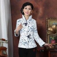 Vacances Vente Blanc Bleu Dame Soie Satin Manteau Chinois Bouton Manteau Tang Costume Floral Veste Dropshipping S M L XL XXL XXXL