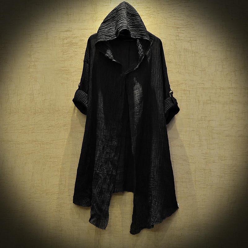 High Quality Mysterious Dustcoat Men Long Sleeve Linen Thin Hoodie Fashion Spring Autumn Black Cardigan Shirts Ttrench Stygian