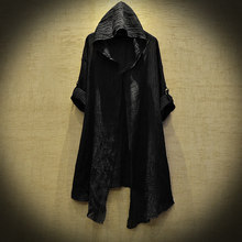 High Quality mysterious Dustcoat Men Long Sleeve Linen Thin Hoodie Fashion Spring autumn Black Cardigan Shirts Ttrench stygian(China)