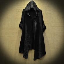 Translucent Linen cloak Thin Trench Men Gothic long coat Stranger things mysterious Dustcoat Men Cardigan Spring summer jacket