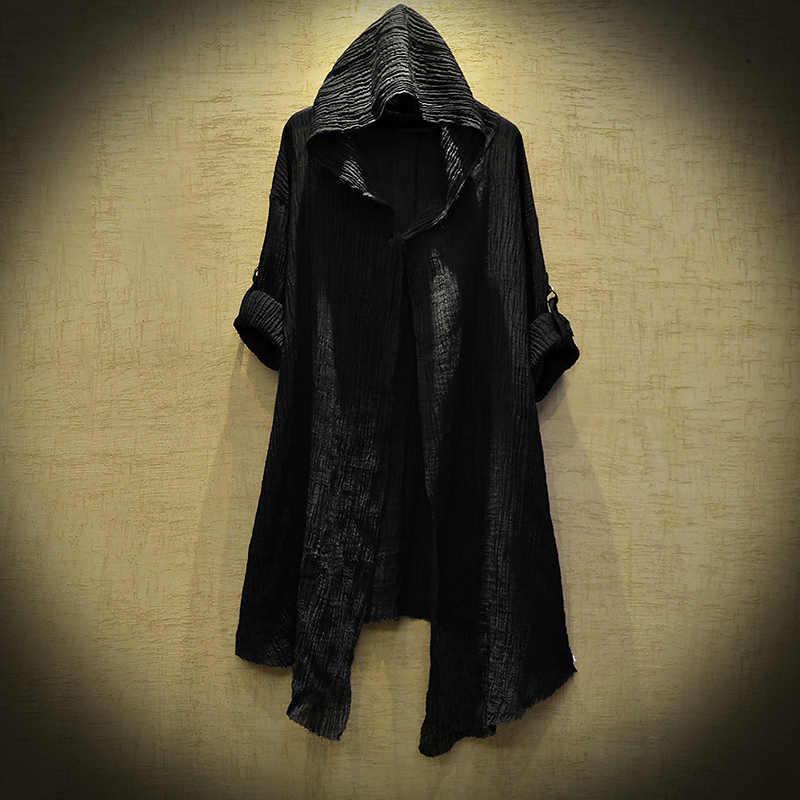 ผ้าลินินบางเสื้อ Ttrench Coat Steampunk ชายลึกลับ Dustcoat ผู้ชาย Hoodie เสื้อแจ็คเก็ตแฟชั่นเสื้อ Cardigan Stygian