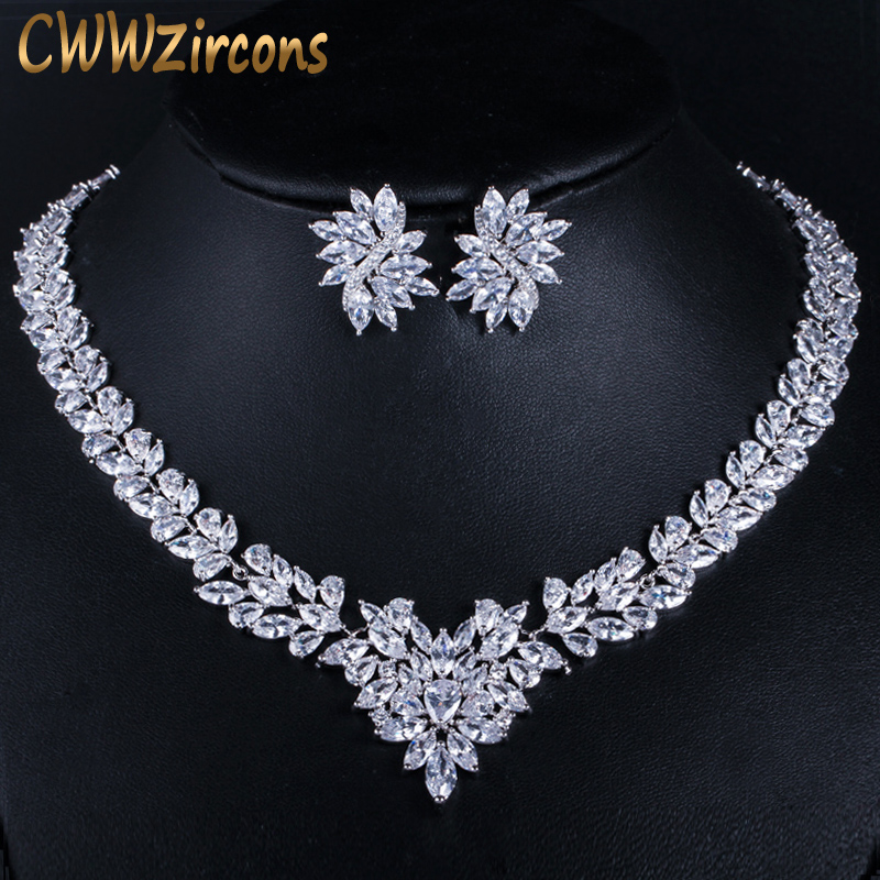 CWWZircons Super Luxury Bridal CZ Jewelry White Gold Color African Wedding Cubic Zirconia Beads Jewelry Sets