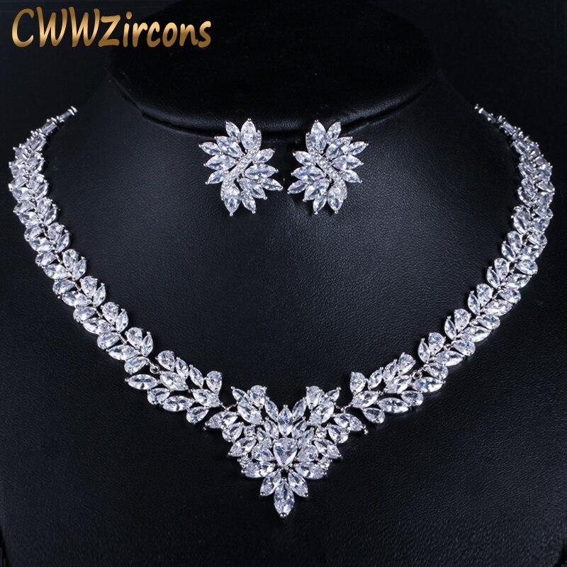 CWWZircons супер роскошные свадебные CZ Ювелирные изделия белого золота цвет Африканские свадебные кубический цирконий бусины ювелирные компле