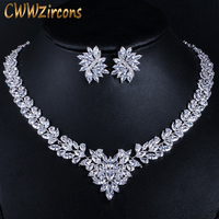 CWWZircons Super Luxury Bridal CZ Jewelry White Gold Color African Wedding Cubic Zirconia Beads Jewelry Sets for Brides T146