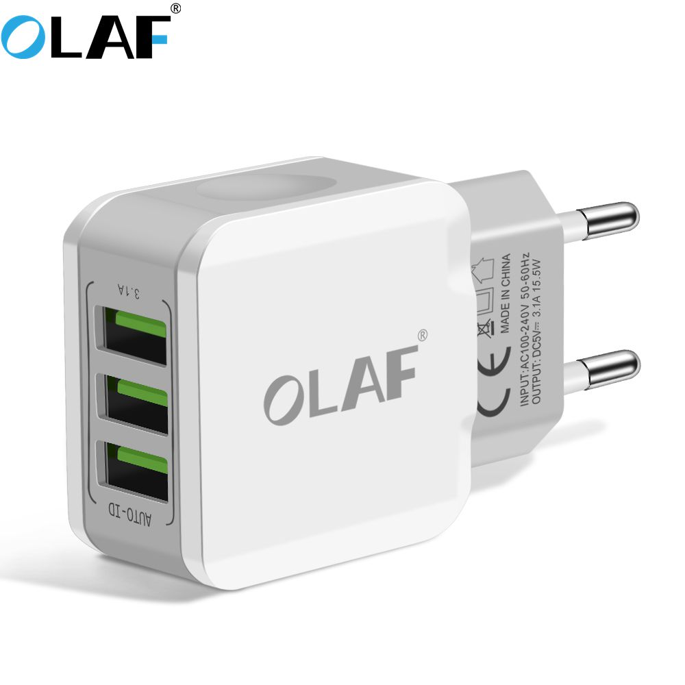 Olaf 3 ports EU plug 5V3A smart travel usb charger adapter wall portable mobile phone charger for samsung S8 Xiaomi iphone 7 8 6
