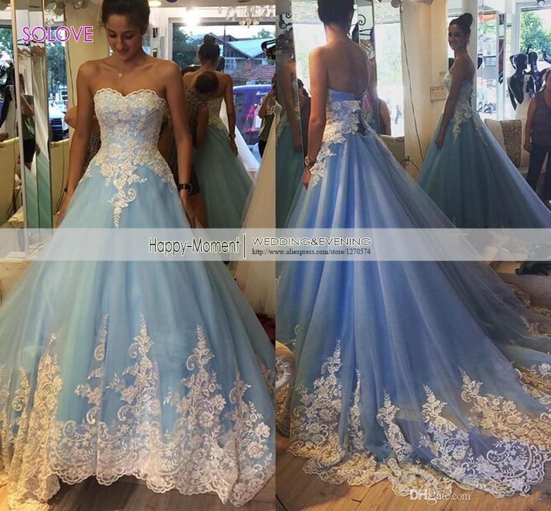 elegant sweetheart a line wedding dress 2016 appliques princess wedding dress light blue wedding gown vestido