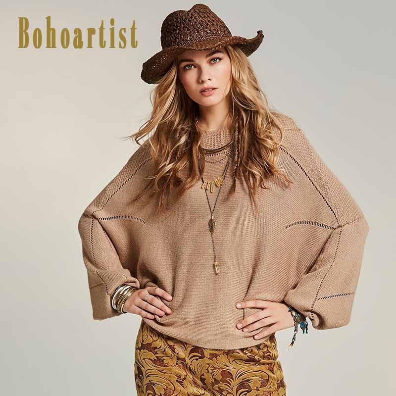 8ec59861e Bohoartist 2018 Autumn Fashion Sweater Slash Neck Plain Batwing Sleeve  Light Apricot Casual Pullover Knitwear Loose Sweaters New