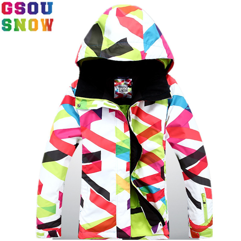 где купить GSOU SNOW Brand Ski Jacket Women Winter Skiing Snowboarding Snow Suit Female Windproof Waterproof Cheap Outdoor Sport Clothing по лучшей цене