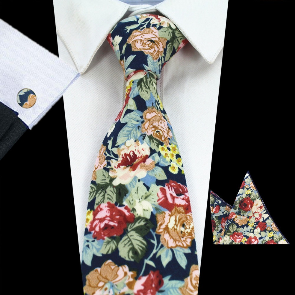 RBOCOTT New Design 8cm Cotton Tie Set Floral Ties Handkerchief And Cufflinks Business Wedding Party Printing Neck Ties For Men