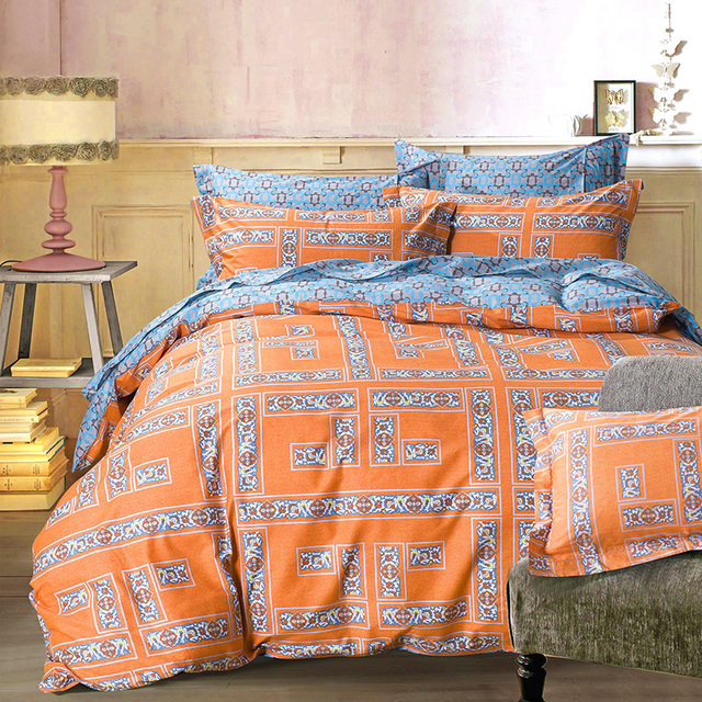 Arabesque Orange Geometric Bedding Sets Queen King Size Cotton Print Fabric  Geometry Blue Grey Bed Sheets