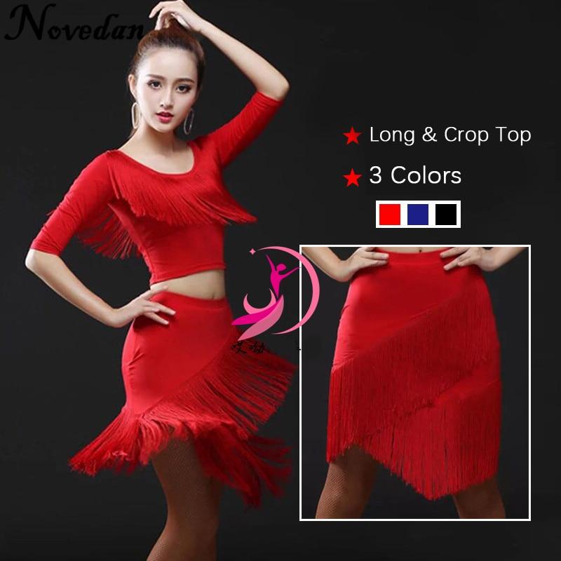 New Women Plus Size Latin Dance Dress Fringe Ballroom Dance Competition Dresses Lady Modern Waltz/Tango/Cha Cha/Salsa Costumes