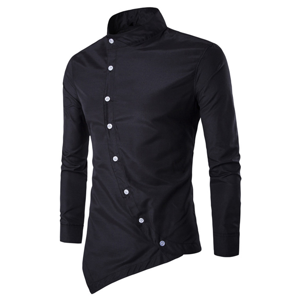 Luxury Men'S Long Sleeved Shirt Turn-Down Collar Button Irregular Casual Autumn Shirts Male 2018 Hot New Slim Shirt Clothing