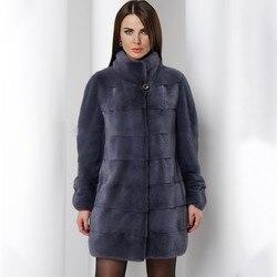 FURSARCAR 2019 новое поступление женское роскошное зимнее пальто из натурального меха норки стандартный воротник модный длинный стиль подлинный ...