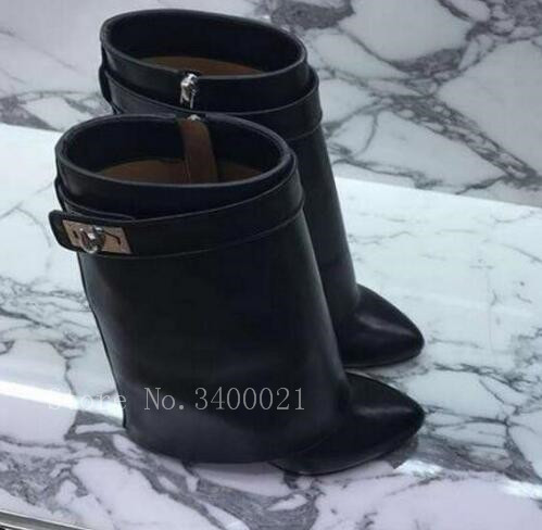 Hot Selling Fashion Multi Colors Fold Over Shark Lock Chelsea Women Boots Flats Height Increasing Mid-Calf Shoes Woman Runway stylish buckles and fold over design women s mid claf boots