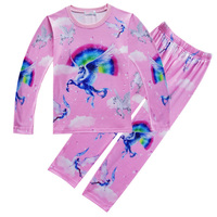 Unicorn Printed Vinegar Fiber Top And Pants Pajamas Suit Kids Baby Boy Girl Long Sleeve Clothing