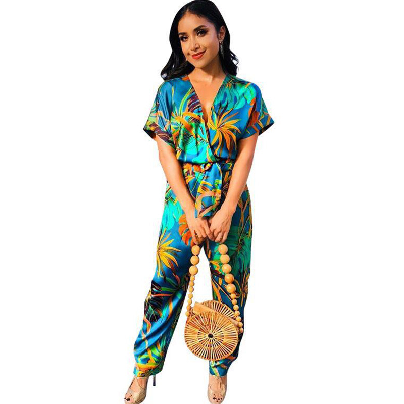 6324ad15743 Tropical Floral Print Boho Jumpsuit Romper Women V Neck Short Sleeve Casual  Jumpsuit Loose Sashes Summer Beach Jumpsuit Overalls