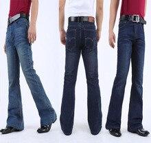 Mens Flared Jeans Boot Cut Leg Flared Slim Fit Mid Waist Classic Denim Jeans Pants Bell Bottom Jeans informal elastic Denim Pants