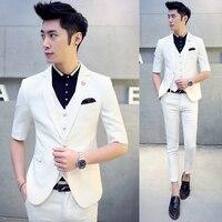 Estate manica corta Abiti Da Sposa monopetto solid slim Terno Masculino three-piece suit (Jacket + Pants + Vest) 10 colori