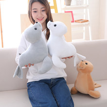 Hot new 1pc 35cm Cute Stuffed Sea Lion Plush Toy Soft Pillow Kawaii Cartoon Animal Seal Toy Doll for Kids Lovely Chilren's Gift(China)