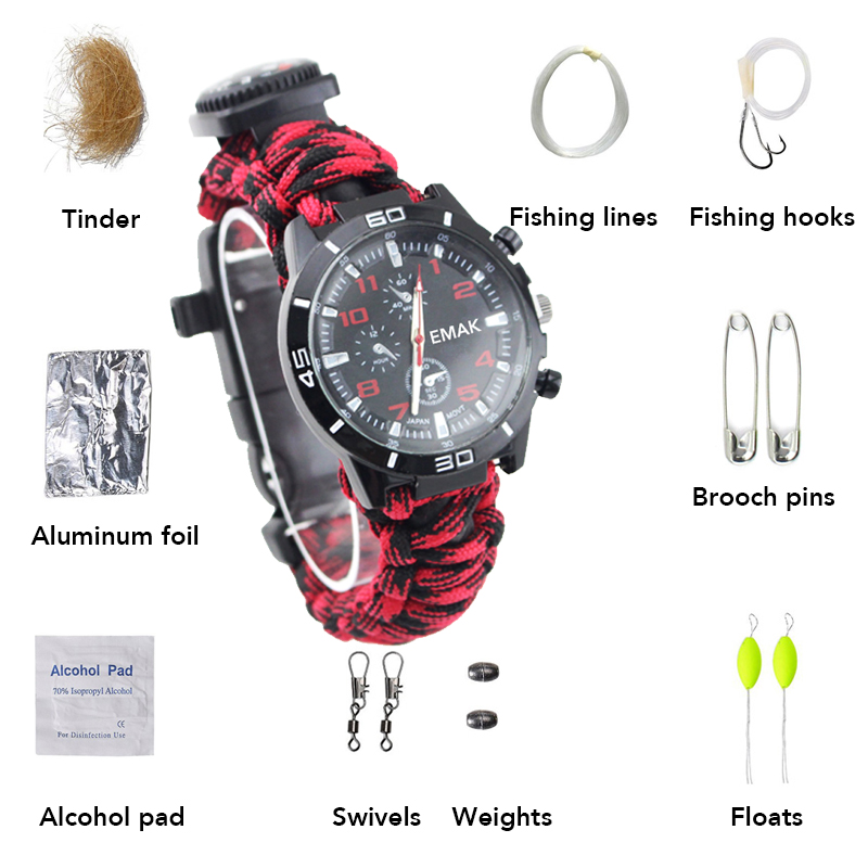 16 In 1 Military Emergency Paracord Bracelet Outdoor Camping Survival Compass Thermometer Whistle Rescue Paracord Bracelet