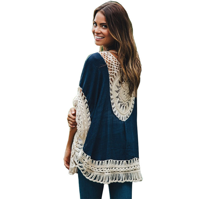 35b7a9a3adc Summer Style 2017 Women Blouses Oversized Lace Crochet Knitted Boho Tunic  Top Plus Size Blusa Feminina Shirt Tropical Tops