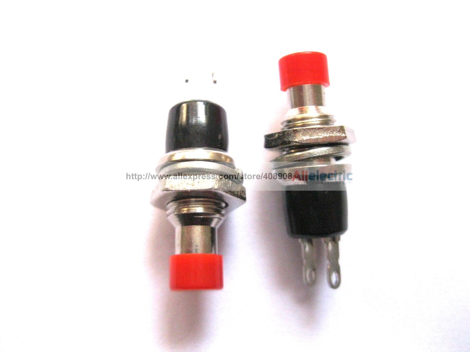 40 Pcs SPST Mini Push Momentary Switch Red Cap 250V 3A 125V 6A Nomal Off 10 pcs red 2 pin spst off on n o round momentary push botton switch 1a 250v ac