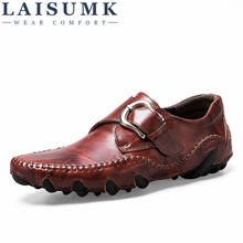 LAISUMK Fashion Autumn Style Soft Moccasins Men Loafers High Quality Genuine Leather Shoes Flats