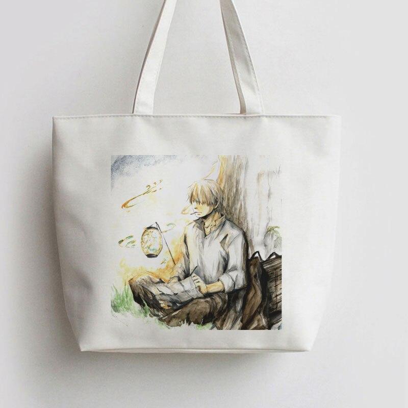 FOR Mushishi Japanese Anime Canvas Shopping Bag Cartoon Tote Bags School Handbag Book Cute Gift AN011