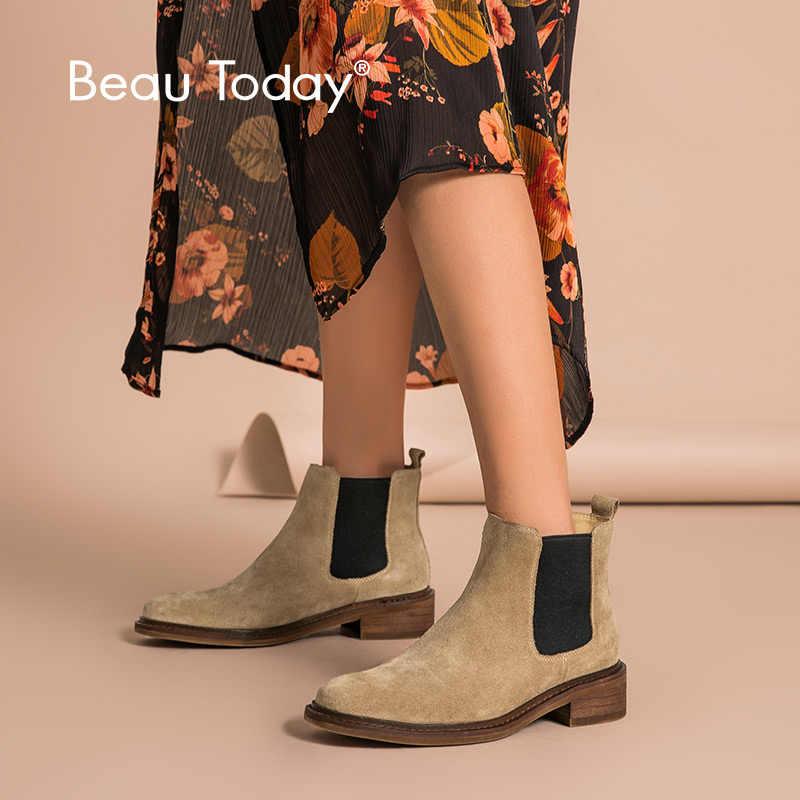 BeauToday Chelsea Çizme Kadın Inek Süet Karışık Renkler Sonbahar Kış Hakiki Deri Bayan Ayak Bileği Uzunluğu Ayakkabı El Yapımı 03275