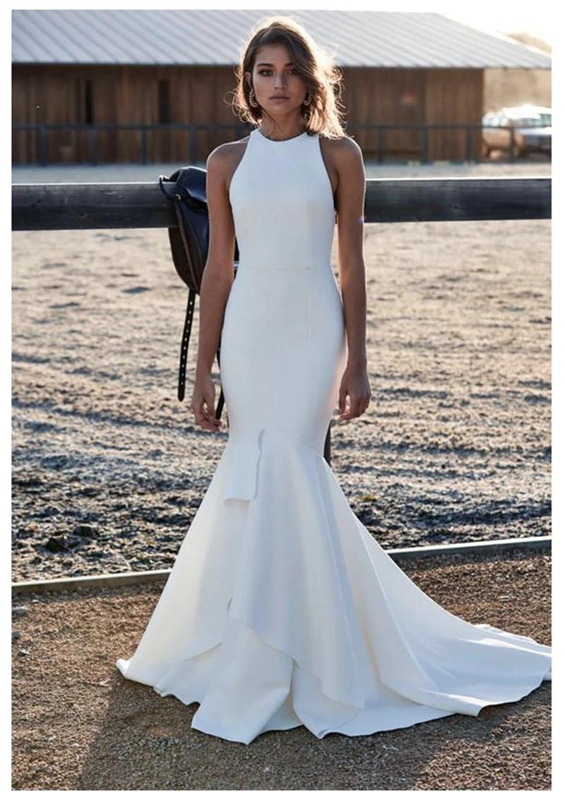 Verngo Mermaid Wedding Dress Elegant Bridal Dress Classic Simple Wedding  Gowns Open Back Custom Made Vestido De Noiva