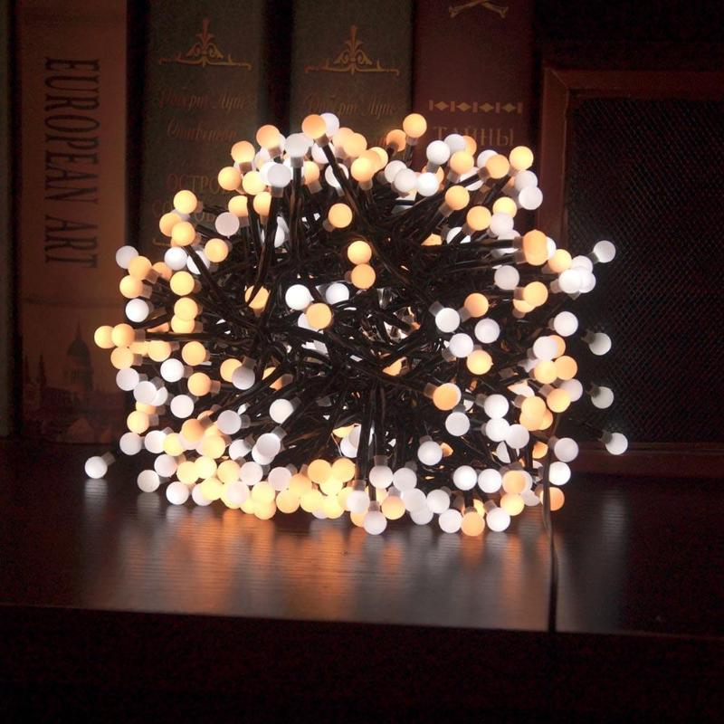 Waterproof 3m 400 Milky Balls LED Firecrackers String Light,8 Modes Fairy String Light for Outdoor Indoor Home, Holiday Lighting