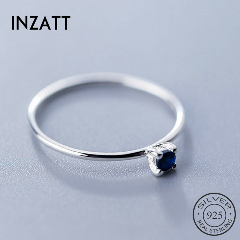 INZATT Real 925 Sterling Silver Blue Zircon  Ring For Fashion Women Fine Jewelry Cute 2019 Minimalist Accessories Gift