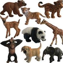 Mini Animal Model Action Figure Plastic Tiger Panada Elephant Orangutan Lion Bear Ornaments Toys For Children