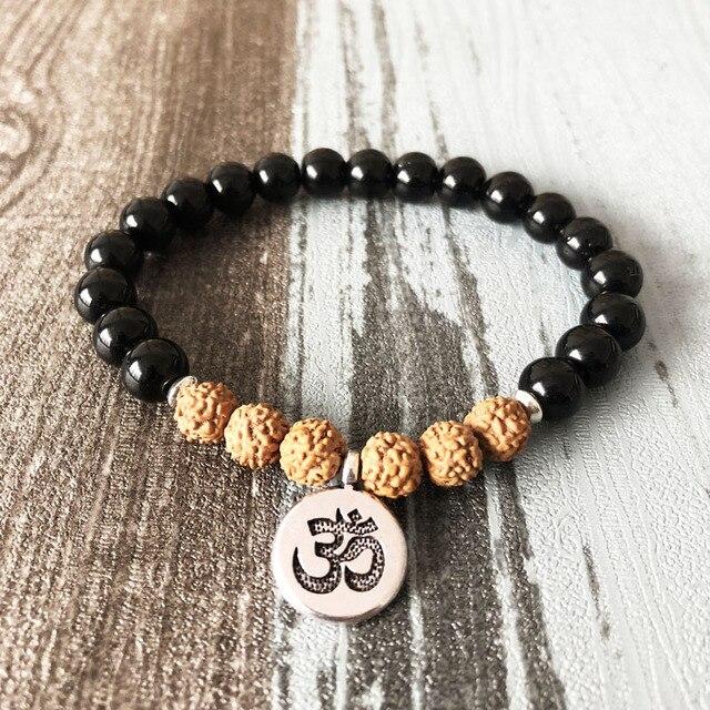 Корень чакра браслет деревенский Йога мала Бусины запястье для человека черный оникс и рудракши Йога браслет цветок лотоса будда очарование