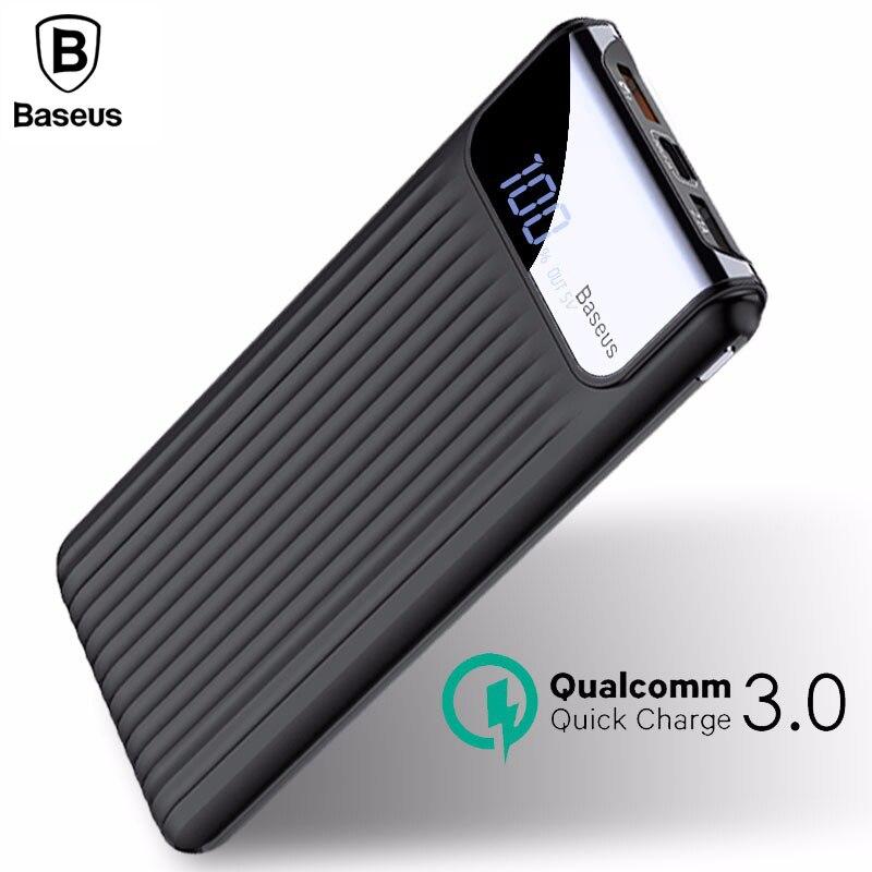 Baseus 10000 mAh Carga Rápida LCD 3.0 Dual USB Power Bank Para iPhone X 8 7 6 Samsung Xiaomi Powerbank Carregador de Bateria S9 S8 QC3.0