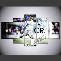 5 Panel Modern Cristiano Ronaldo Real Madrid Hd Art Print Canvas Art Wall Framed Paintings For