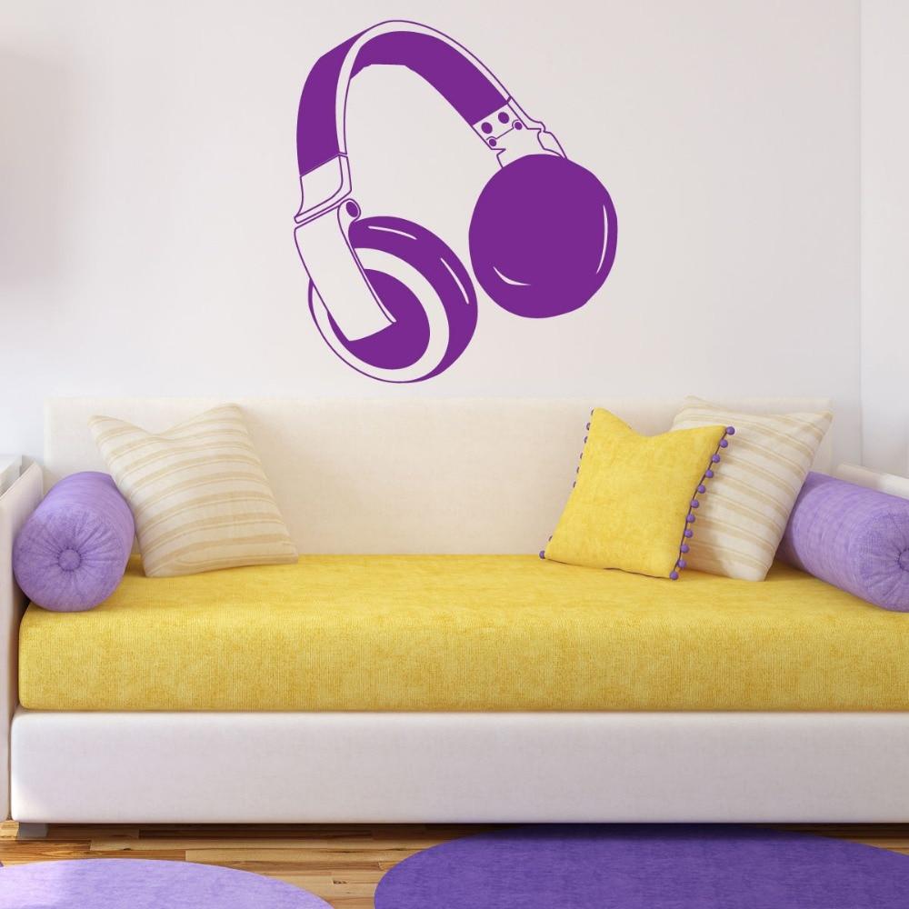 58X65cm Headphones Wall Sticker Music Art Bedroom Vinyl Decal ...