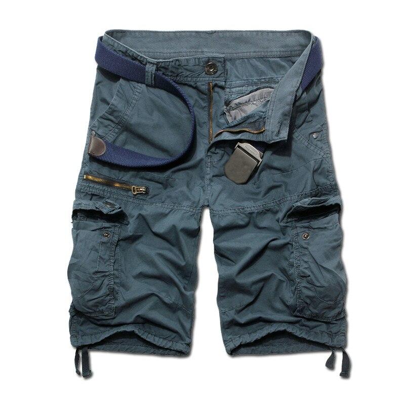 205 Лето Новое поступление мужские Брюки-карго Дизайнерские однотонные брюки-карго bermuda masculina Размер 29-38 AK06 - Цвет: navy